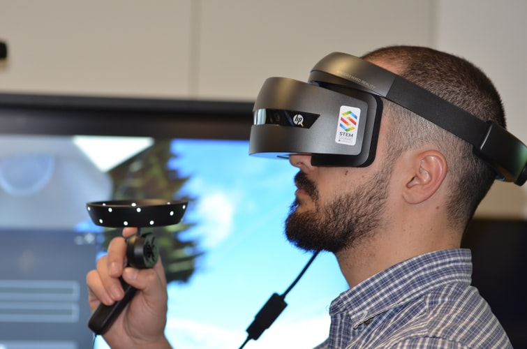 a man using virtual reality as a form of therapy
